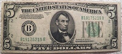 1934  $5 Five Dollar U.S. federal reserve note New York
