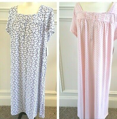 Croft And Barrow Women/'s Knee Length Blue Floral Nightgown Plus Sizes 1X 3X