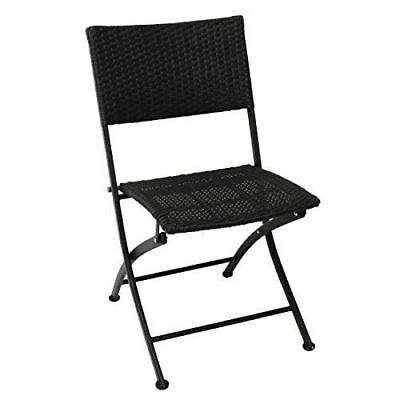 Bolero PE Wicker Folding Chairs with Steel Frame 460mm in Height Pack of 2