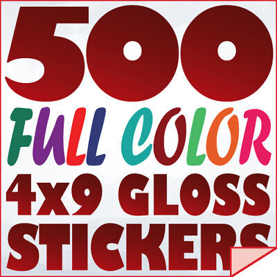 500 Full Color Custom 4x9 STICKERS on 70Lb Label Printing with UV Gloss