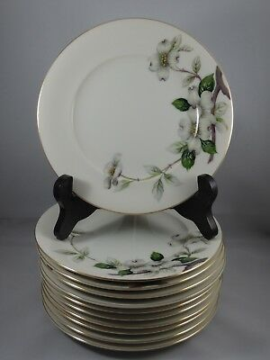 """Meito Norleans China Livonia 6 1/2"""" Bread Butter Plates Dogwood Flowers 11pcs"""