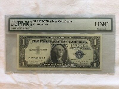 United States currency 1- dollar note 1957 silver certificate, graded  uncircula