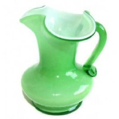 Kanawha Green & White Cased Art Glass Pitcher With Swung Handle
