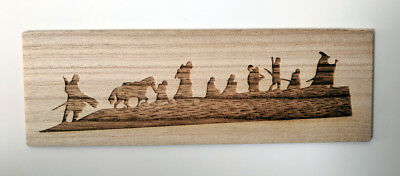 Tolkien wood bookmark, laser engraved with silhouette of the LotR Fellowship