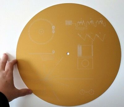 Full size metal replica of NASA Voyager Golden Record, laser etched on aluminium