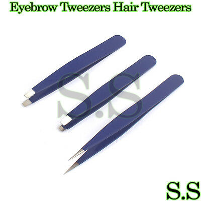 Blue Eyebrow Tweezers Hair Tweezers Slanted Straight Pointy Set Of 3