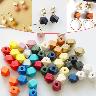 Wholesale 12mm 10pcs DIY Wooden Octagonal beads Earrings accessories Candy Color