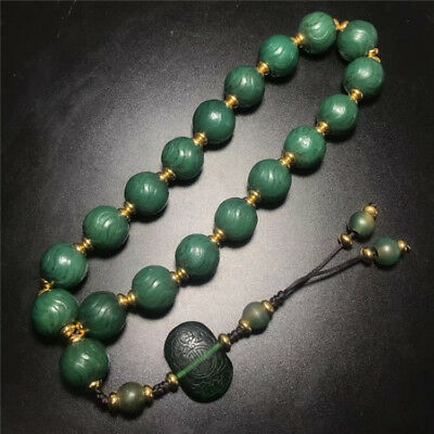 China old antique handcarved Natural green agate Eighteen sons Beads Bracelet