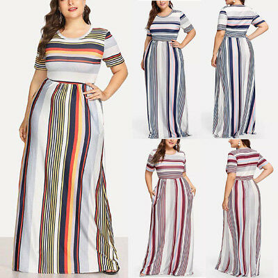 Fashion Women Casual Plus Size Striped Printed O-Neck Short Sleeve Long Dress