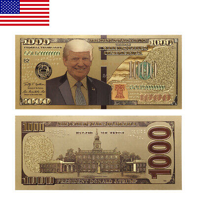 50PC President Donald Trump Colorized $1000 Dollar Bill Gold Foil Banknote ON