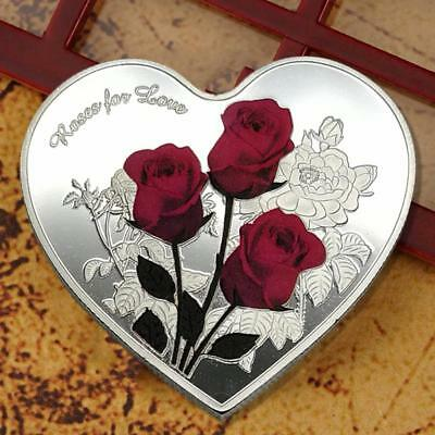Love Heart Rose Metal Silver Commemorative Coin Valentine's Day Gifts~Collection