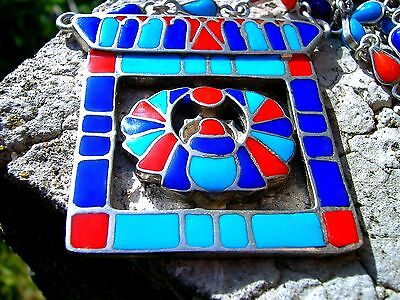 LARGE Egyptian Revival SILVER Scarab Vintage Necklace Lapis Turquoise Carnelian