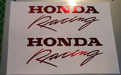 HONDA RACING style Decals Stickers x 2 CBR CB 1000 VFR vinyl fairing RED CHROME