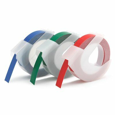 Replacement DYMO 3D 3/8'' Xpress Embossing label Tape Red Blue Green 520109 3PK