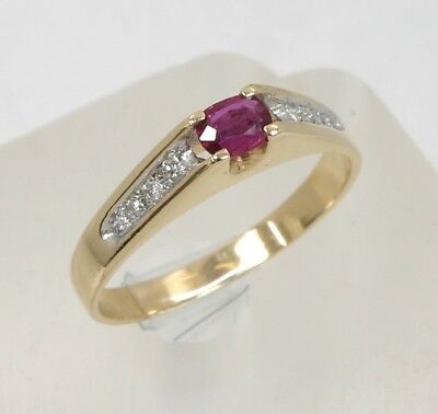 14K Yellow Gold 0.07ctw Diamond 0.20ct Oval Ruby Ring Size 6.5