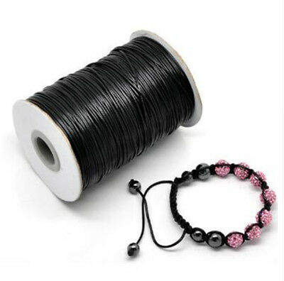 10MX1mm Waxed Rope Polyester Cord For DIY Jewelry Bracelet Necklace Bead Black