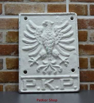 Polish Railways ANTIQUE original - cast iron plate from the wagon /A 192