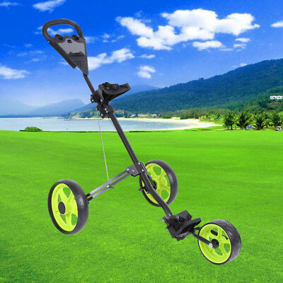 Foldable Golf Buggy Trolley Cart Push Pull 3 Wheels Cart with Footbrake