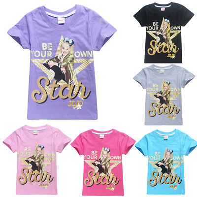 Girls BE YOUR OWN STAR Top Tee Jumper Kid Short Sleeve Casual T-Shirts JOJO SIWA