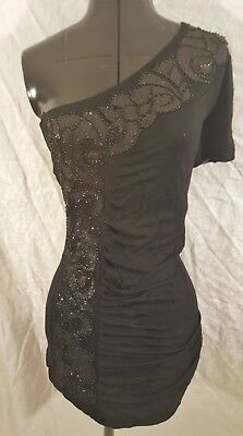 Sexy BKE Boutique Black Shiny Beads Fancy One Shoulder Short Bodycon Dress Small