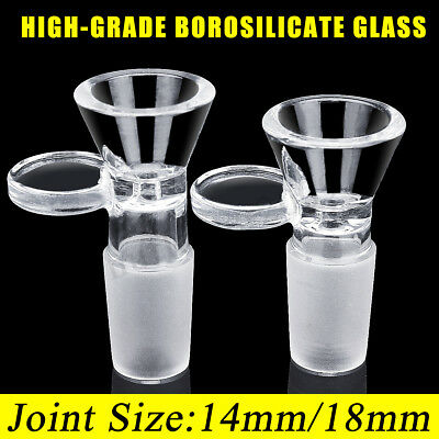 Clear 14mm/18mm Slide Male Glass Bowl With Handle Funnel Type Bowl Medical Lab
