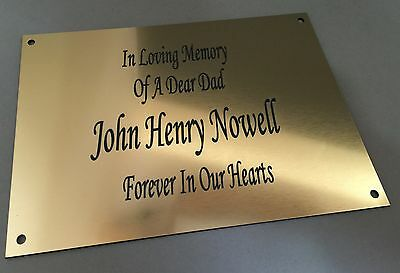BP62 OUR DEAR DAD Bench Wall Gate ABS Engraved Brass Memorial Plaque Sign Grave