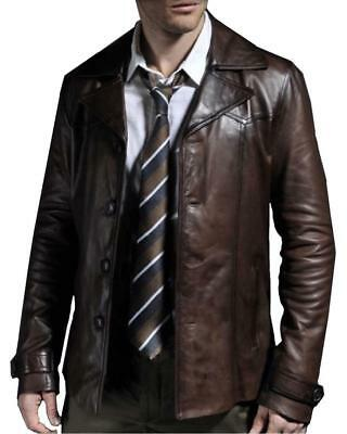 Mens Black Blazer Real Genuine Leather Coat Jacket Classic Stylish Soft Leather