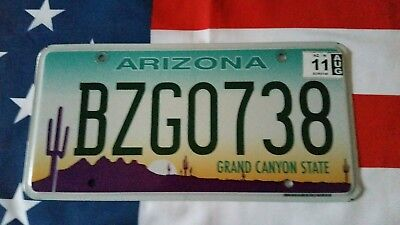 plaque d'immatriculation Arizona Us BZG0738 Usa license plate