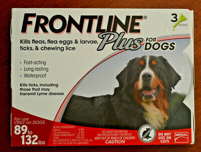 Frontline Plus For Dogs 89to132, 89-132 lbs. 3 Month Supply, Three Doses, 3 Pack