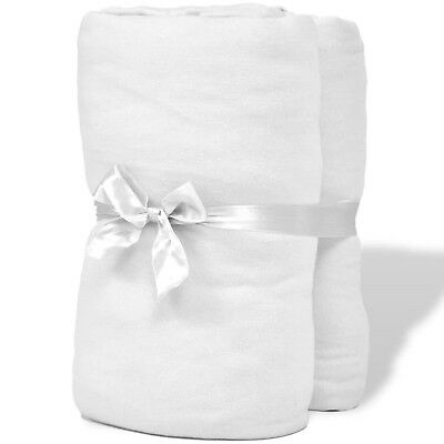Cotton Jersey White Fitted Sheet Mattress Size 120x200-130x200cm 2 Pieces