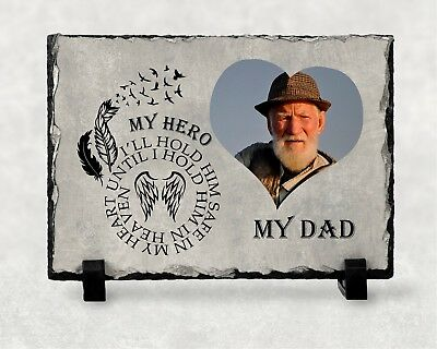 Personalised My Dad My Hero Photo Image Memorial Slate Plaque - YOUR Picture