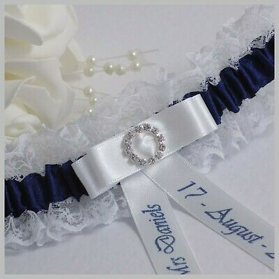 Personalised Bridal Garter. Ivory or White lace with navy blue & diamante buckle