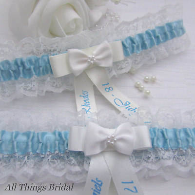 Personalised Lace Bridal Garter. Ivory Or White  With Blue Satin Trim & Bow.