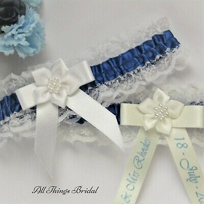 Personalised Bridal Garter. Ivory Or White Lace With Royal Blue Trim & Print