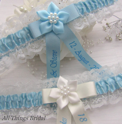 Personalised Lace Bridal Garter. Ivory Or White With Blue Satin Trim.