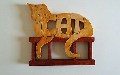 Cat Hand Crafted Wooden Puzzle Display