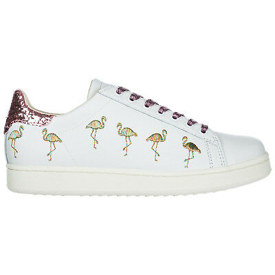 Moa Master Of Arts Scarpe Sneakers Donna In Pelle Nuove Flamingo Bianco 883 0dc7d205a88