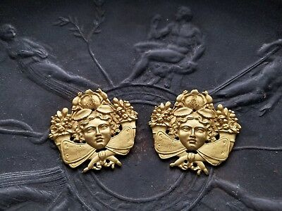 Guilded Bronze Caryatid Heads Ornaments