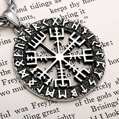 Viking Compass Vegvisir Rune Stainless Steel Pendant Necklace