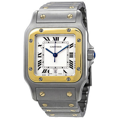 Pre-owned Cartier Santos Galbee White Dial Watch 187901 PRE-CRTW187901