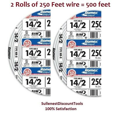 2 X Romex 250' Roll 14-2 AWG Guage NM-B Indoor Electrical Copper Wire (500 FT)
