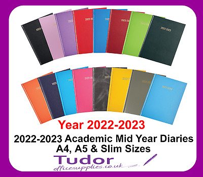 2019 2020 Mid Year Academic Diary A4 A5 Week to View Day per Page Colour Choice