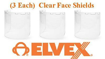 "Elvex FS-15PC Polycarbonate Molded Face Shield 8"" x 15.5"" x .07"" - 3 EACH!!"