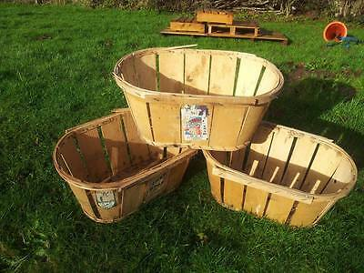 3 x VINTAGE FRENCH GENUINE FRUIT / VEGETABLE MUSSY BASKET CRATE RUSTIC CHARMING>