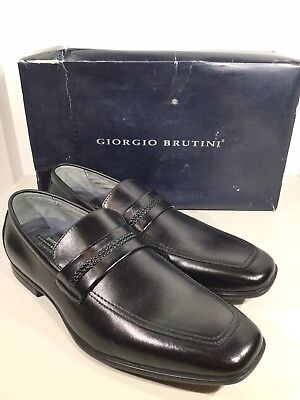 32cd9d5cad5 Giorgio Brutini Liston Men s Size 12 Black Leather Slip On Loafers Shoes  X17-192