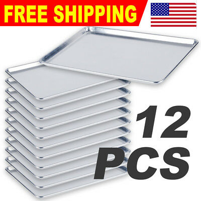 "12 PACK Full Size 18"" X 26"" Aluminum Sheet Baking Pan  Commercial"