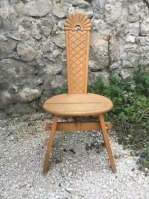 Wood Carved Alpine Chalet Tyrolean Spinning Wheel Chair Moravian French Swiss