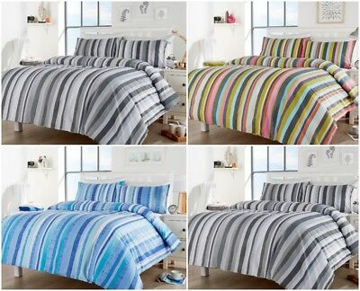Maine Stripes Modern Style Luxurious Duvet Cover Sets Reversible Bedding Sets LW