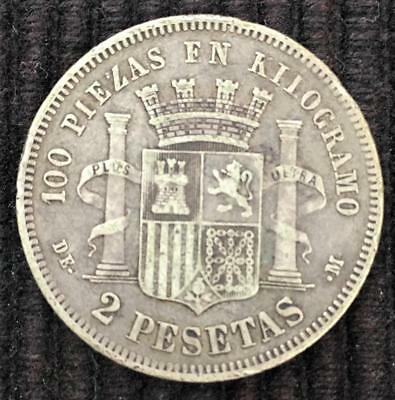 1870 Spain (Espana) 2 Pesetas Silver Coin Key Date Low Mintage Great Details