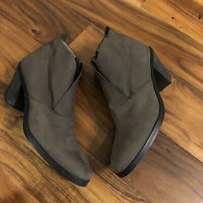 fafd752a8393 Eileen Fisher Intaglio Murphy Bootie Storm Nubuck Leather Zip Ankle Boot 10  EUC